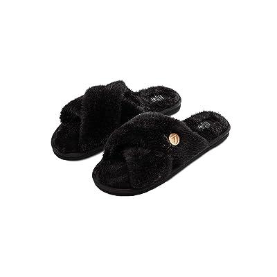 Volcom Women's Lived in Lounge Faux Fur Slide Sandal   Slippers