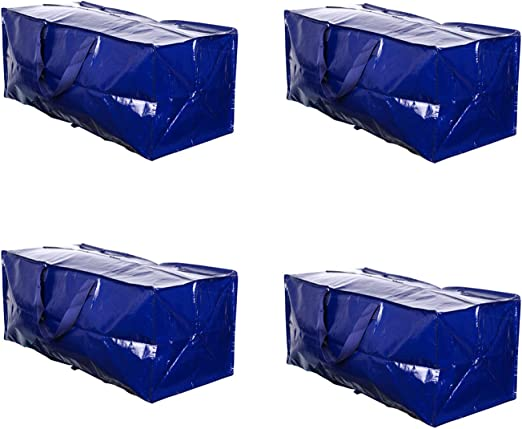 Blue - Set of 4 VENO Heavy Duty Extra Large Storage Bag Moving Tote Backpack Carrying Handles /& Zipper Compatible with IKEA Frakta Hand Carts Boxes Bin Made of Recycled Material