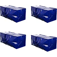 VENO Heavy Duty Extra Large Storage Bag Moving Tote Backpack Carrying Handles & Zipper - Compatible with IKEA Frakta Hand Carts Boxes Bin, Made of Recycled Material (Blue - Set of 4)