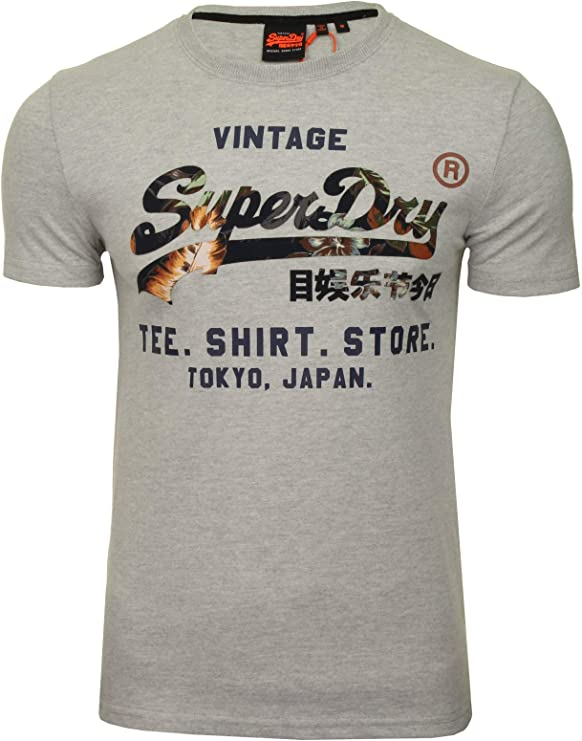 Superdry Homme Tank Top Oil Embroidery Gris m6010071a 3ff Stone Grey Space Dye
