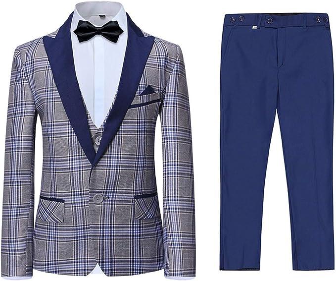 Boyland Boys Suits Slim Fit Shawl Lapel 3 Pieces Tuxedo Suit Jacket Vest Pants White Wedding Party Prom