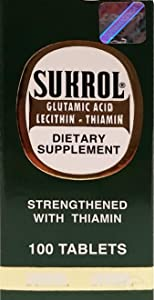 FARMAMEDICA Sukrol Vitamin Supplement, Glutamic Acid, Lecithin, Thiamin, Dietary Supplement to Help You Improve a Healthy Brain Function, Mental Focus, 100 Tablets, Bottle