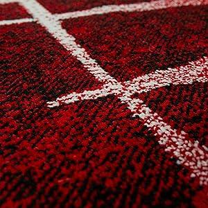 Tapis Design Moderne Poil Court Trendy Rouge Crème Moucheté, Dimension:160x220 cm