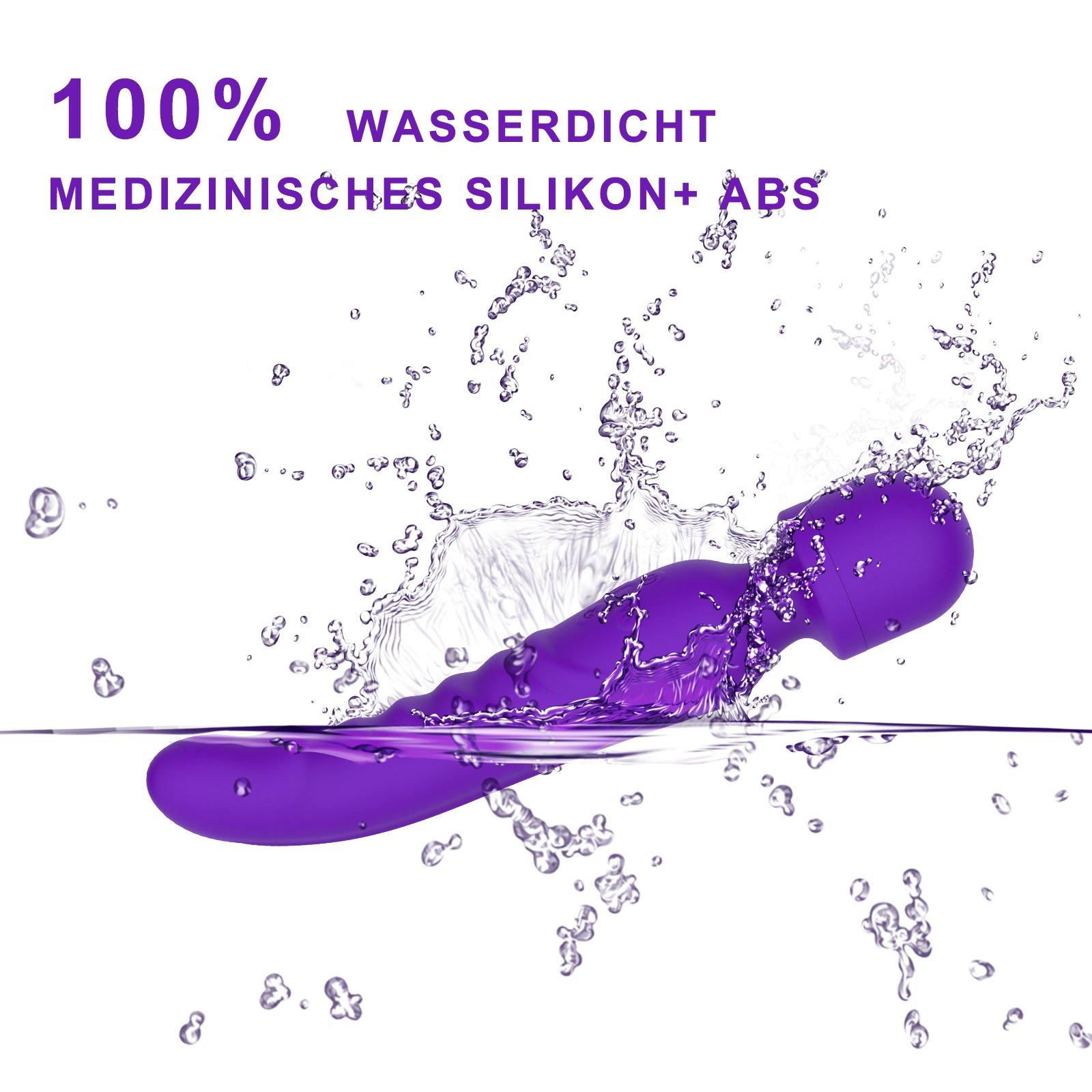 Magic Wand Massagegerät Massagestab für Frauen Handheld Massager mit Akku,100% Wasserdicht, 7 Massageprogramme Massage geräte für Rücken Nacken Schulter Beine und Fuß (Lila) (Lila)