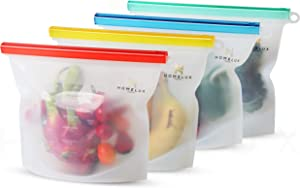 Homelux Theory Reusable Silicone Food Storage Bags Silicone Bags Reusable Bags Silicone Silicone Storage Bags Silicone Food Bags Reusable Silicone Food Bag (4 Large)