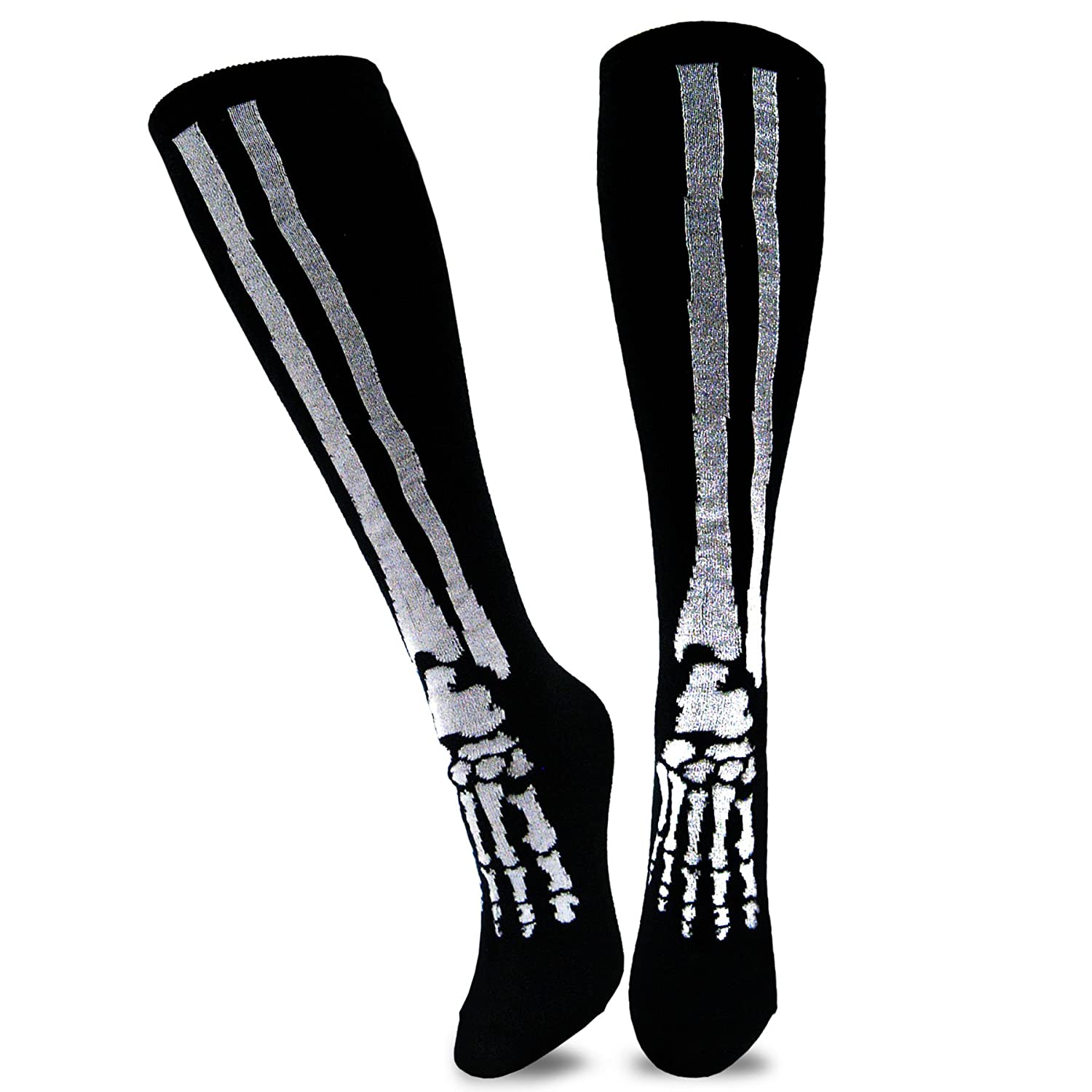 TeeHee Novelty Young Men Halloween Skeleton Fun Knee High Socks Knee High)
