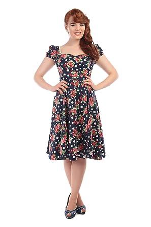 Collectif Vintage Womens 1950s Black Mimi Polka Dot Floral Dress UK 8