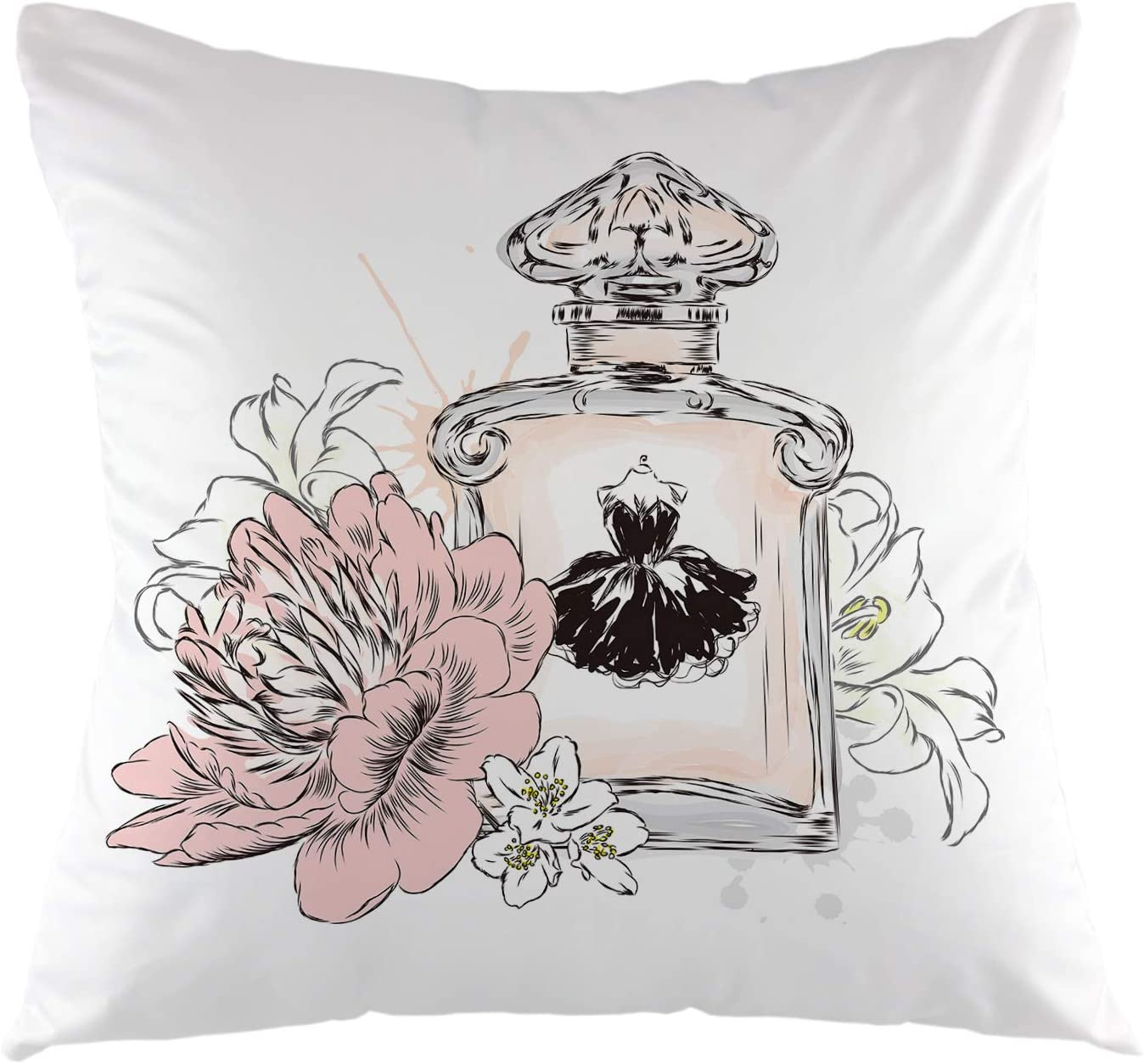 Ofloral Perfume Bottle Decorative Throw Pillow Cover Flowers Pillow Case Square Cushion Cover For Sofa Couch Home Car Bedroom Living Room Decor 18 X 18 Black Pink Yellow Home Kitchen