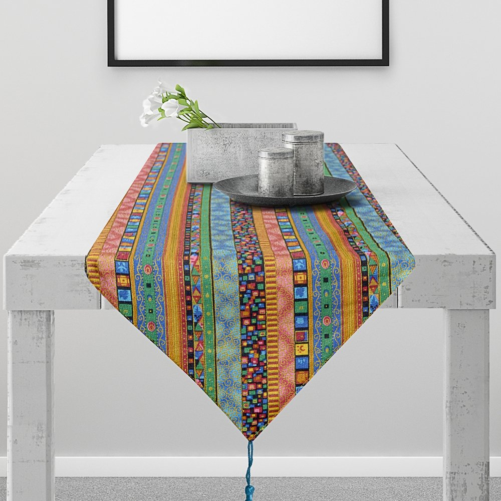 Lamberia Table Runner –Polyester Fabric Mexican Serape Table Runners for Party Decorations, Home Dinner and Festival (Blue Bohemia Style, 12x108)