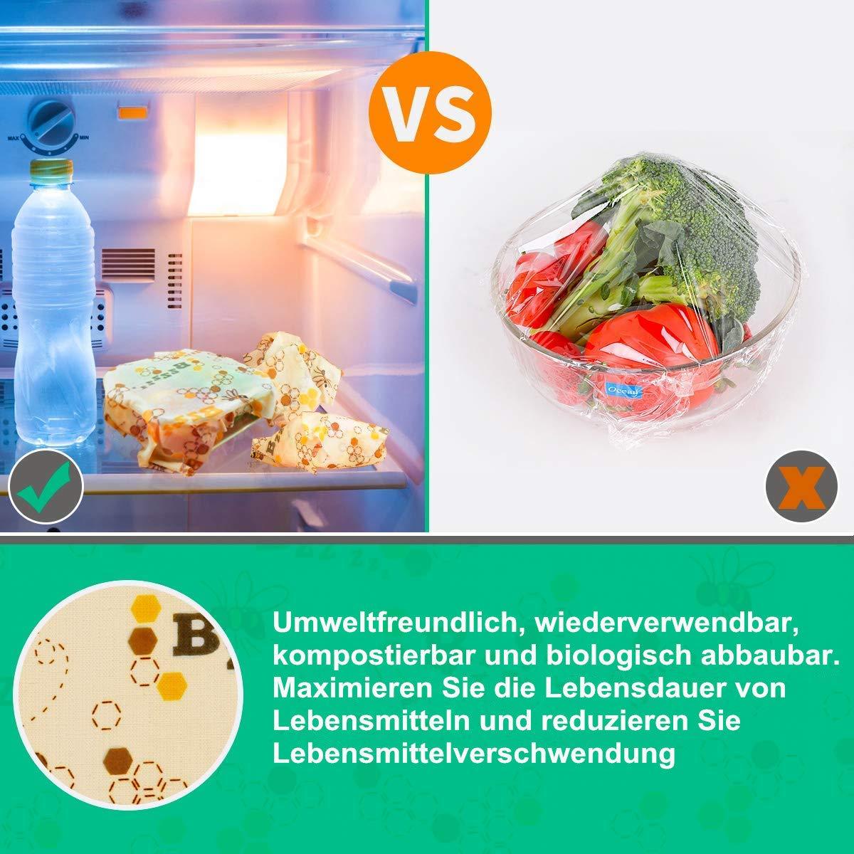 Aus nat/ürlichem Bienenwachs Bienenwachst/ücher f/ür Lebensmittel Gem/üse und Brot 1XS,3xM,1xL 5 St/ück 100/% nat/ürliche Wiederverwendbare Frischhaltefolie f/ür Obst