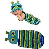 Disfraz de ganchillo para recién nacido, unisex, diseño de oruga, conjunto de punto ideal para sesiones de fotos 2.