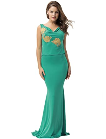 ohyeahlady Women Applique Formal Dress Sleeveless Open Back Evening Dress Elegant Party Gown