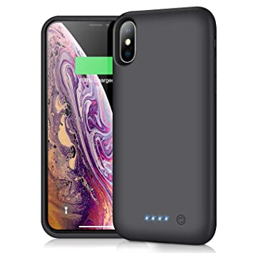 iPosible Funda Batería para iPhone X XS [6500mAh] Upgraded Funda Cargador Portatil Batería Externa Ultra Carcasa Batería Recargable Power Bank para ...