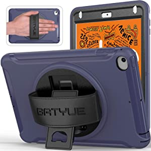 BATYUE Case for iPad Mini 5/Mini 4, Triple Layer [Heavy Duty] Rugged Shockproof Protective Cover with 360 Degree Rotating Stand/Leather Hand Grip for Apple iPad Mini 5th/4th Generation-Kids (Blue)