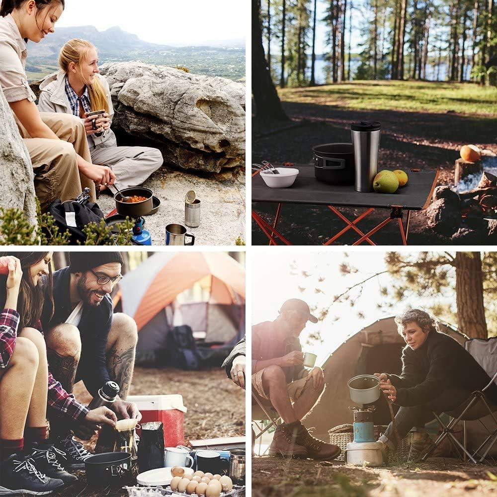 Faltbare Campingt/öpfe mit Campingkocher f/ür 4-5 Personen Leicht Aluminium Edelstahl Campinggeschirr Outdoor Kochgeschirr T/öpfen Ahsado Camping Geschirr Set