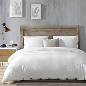 EXQ Home 100% Washed Cotton White Duvet Cover Set Full/Queen Size 3 Pcs, Super Soft Bedding Vintage Comforter Cover with Button Closure (Breathable)