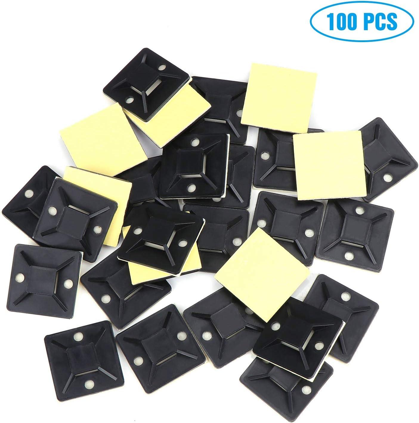 100 pi/èce Embases Adhesive pour Attache de Cable Fippy Attache C/âble 100 pi/èce Serre C/âbles Nylon Noirs
