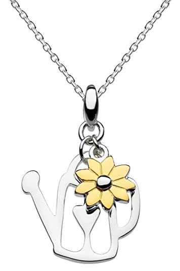 Dew Sterling Silver and Gold Plate Daisy Necklace of Length 45.7 cm jtJcZhvH4t