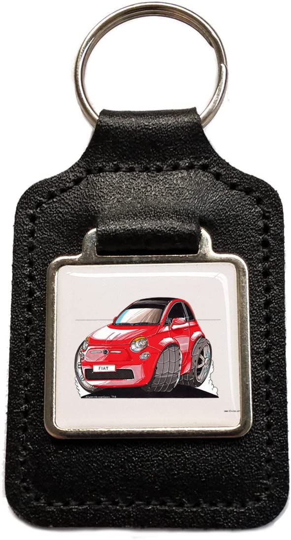 FIAT 500 red Caricature Leather Keyring Licensed Koolart Gift by BP Graphics