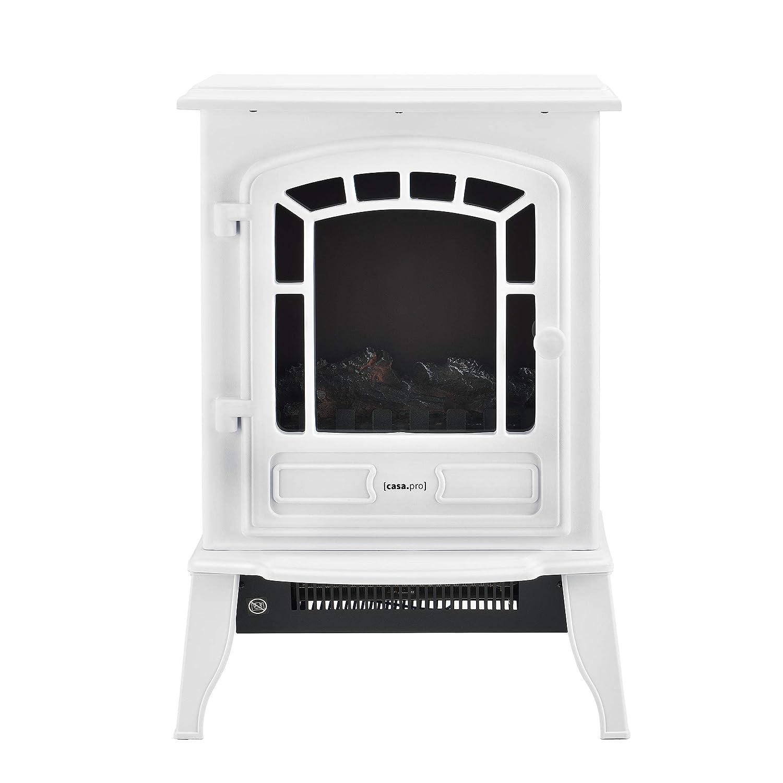 [casa.pro] Chimenea eléctrica 39 x 24 x 56,5 cm Plástico, Metal, Vidrio Termoventilador incorporada Blanco: Amazon.es: Hogar