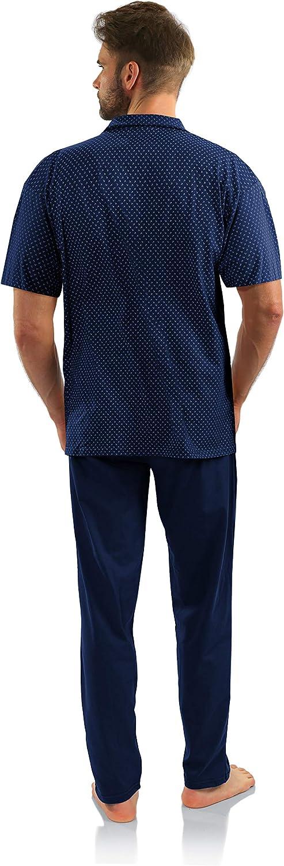 Sesto Senso Pigiama Uomo Abbottonata Cotone Maniche Corte con Bottoni Pantaloni Lunghi