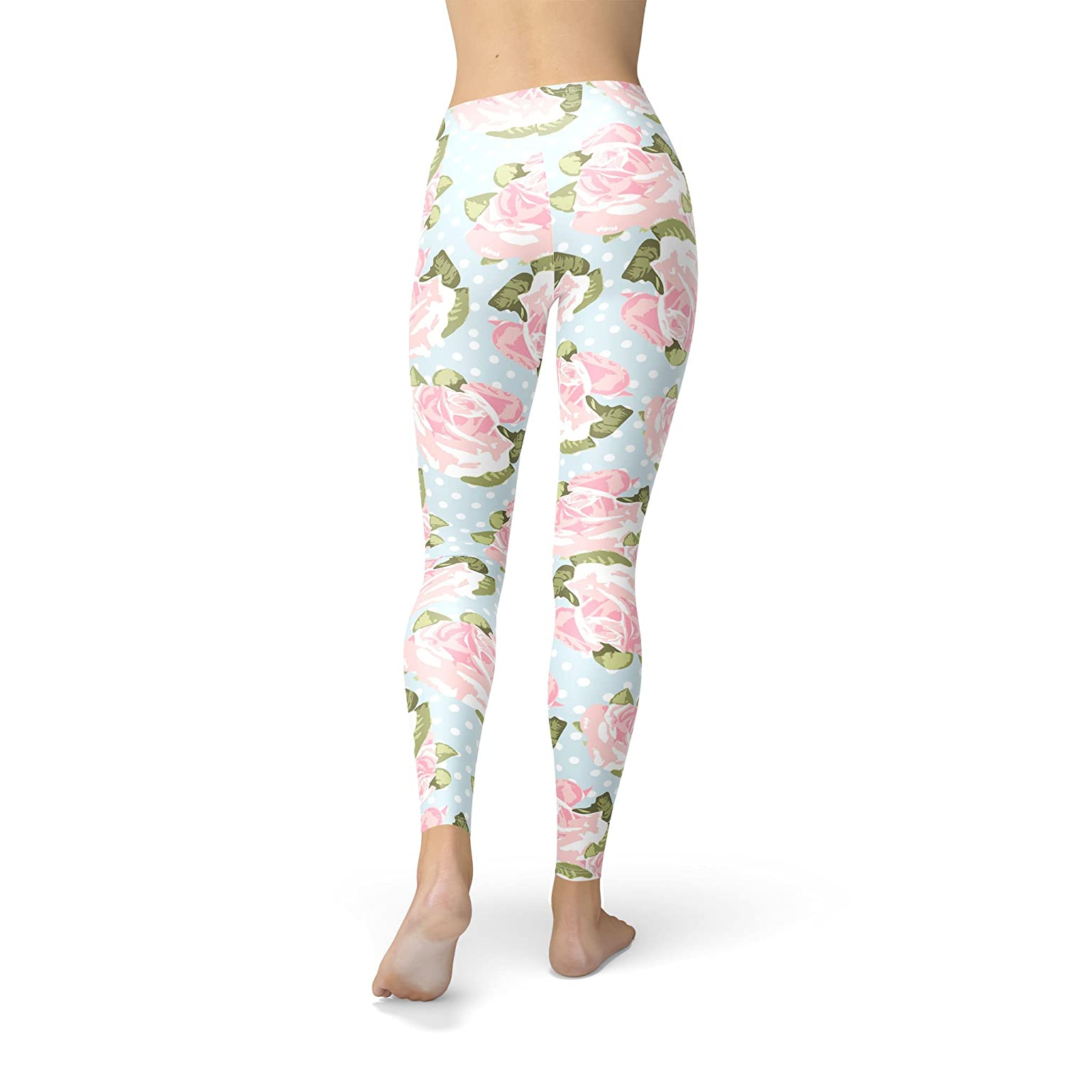 Pink Roses on Blue Polka Dots Fleece Leggings XS-3XL