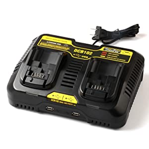 Batteriol DCB102BP DCB102 Dual Battery Charger 3A Fast Charging Station Dual USB for 12V MAX and 20V MAX DEWALT Lithium Battery DCB203 DCB204 DCB205-2 DCB200 DCB120 DCB127