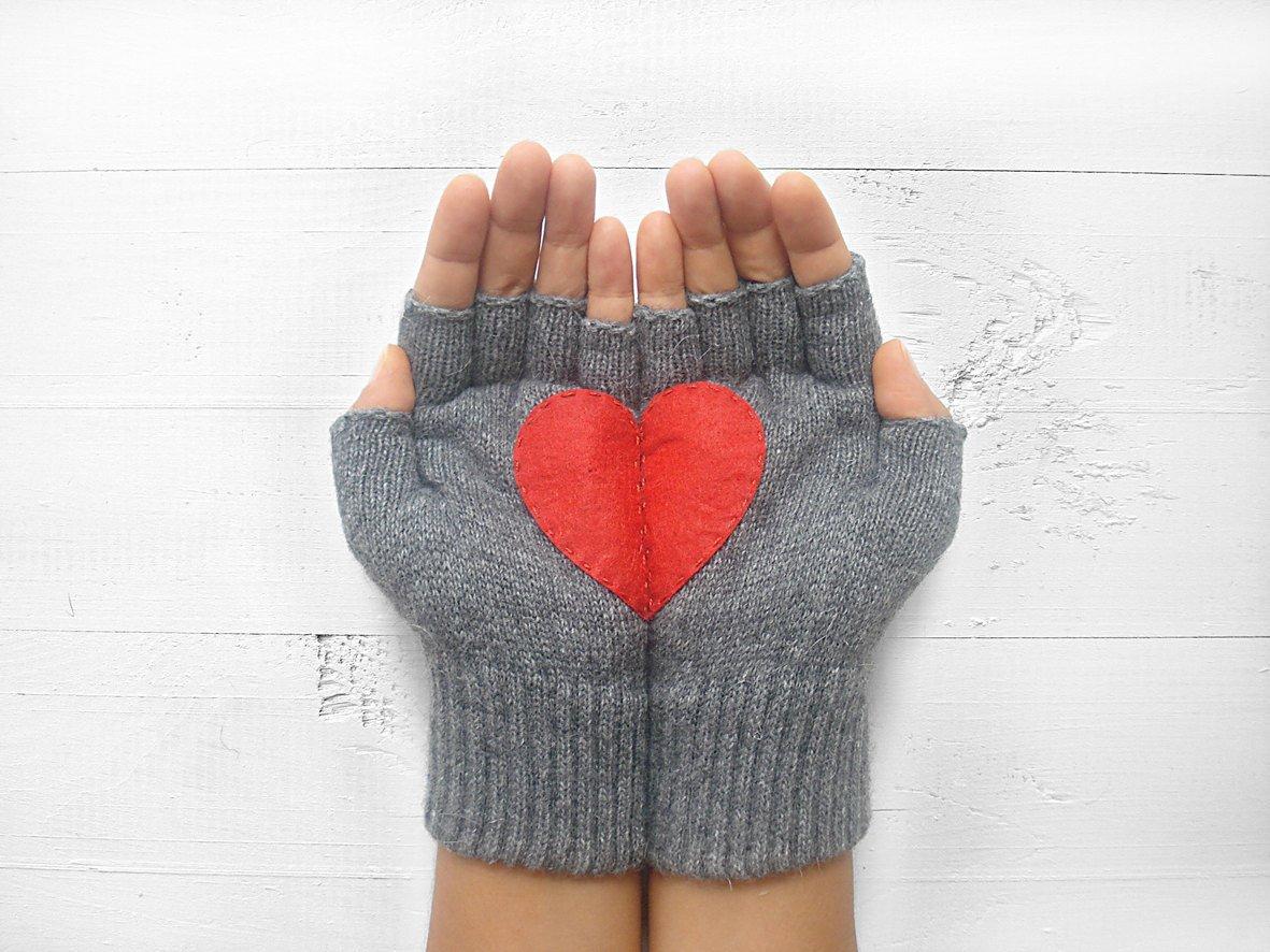 Heart Gloves, Gloves With Heart, Fingerless Heart Gloves, Half Heart Gloves