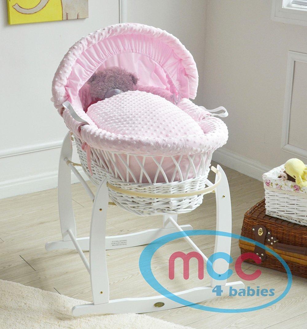 Mcc® Komplettset Moses Weidenkorb, Baby Korb, in natur mit Matratze, Bezug und Schaukelgestell, Stubenwagen, PINK