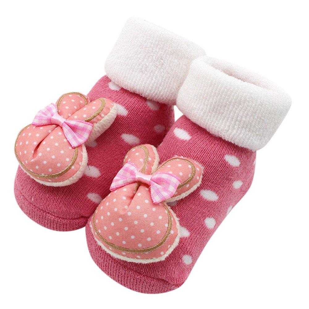 Robemon Bébé Enfants Filles Garçons Automne Hiver Épaissi Anti-dérapantes Dessin Animé Poupée 3D Belle Coton Plancher Chaussettes 0-12Mois