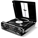 ION Audio Mustang LP Giradischi con Radio, Altoparlanti Amplificati e Conversione Vinili su Chiavetta USB, Nero