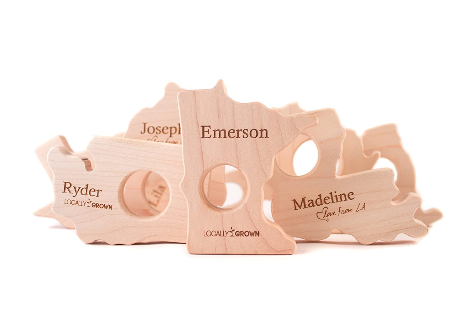 ANY STATE natural wooden baby teether toy