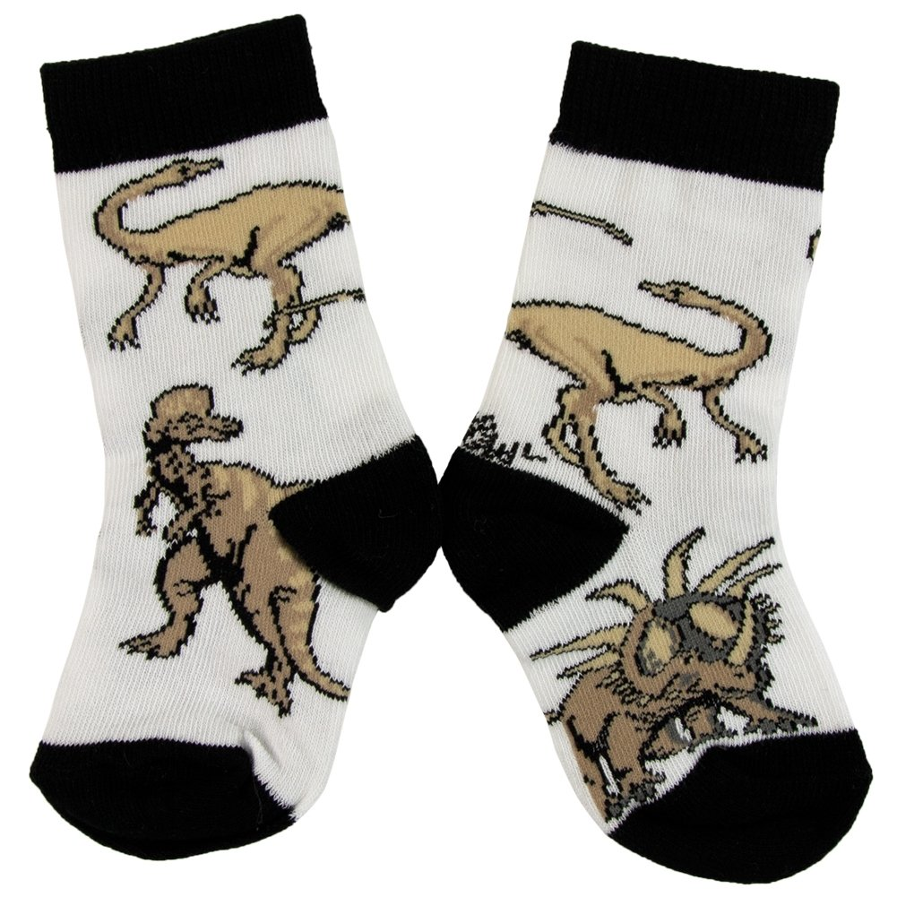 Animal World - Dinosaurs Walking In Grass Juvy Socks - Small White