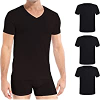Comfneat Men's 3-Pack Bamboo Ultra Soft Comfy Undershirts Crew/V-Neck T-Shirts