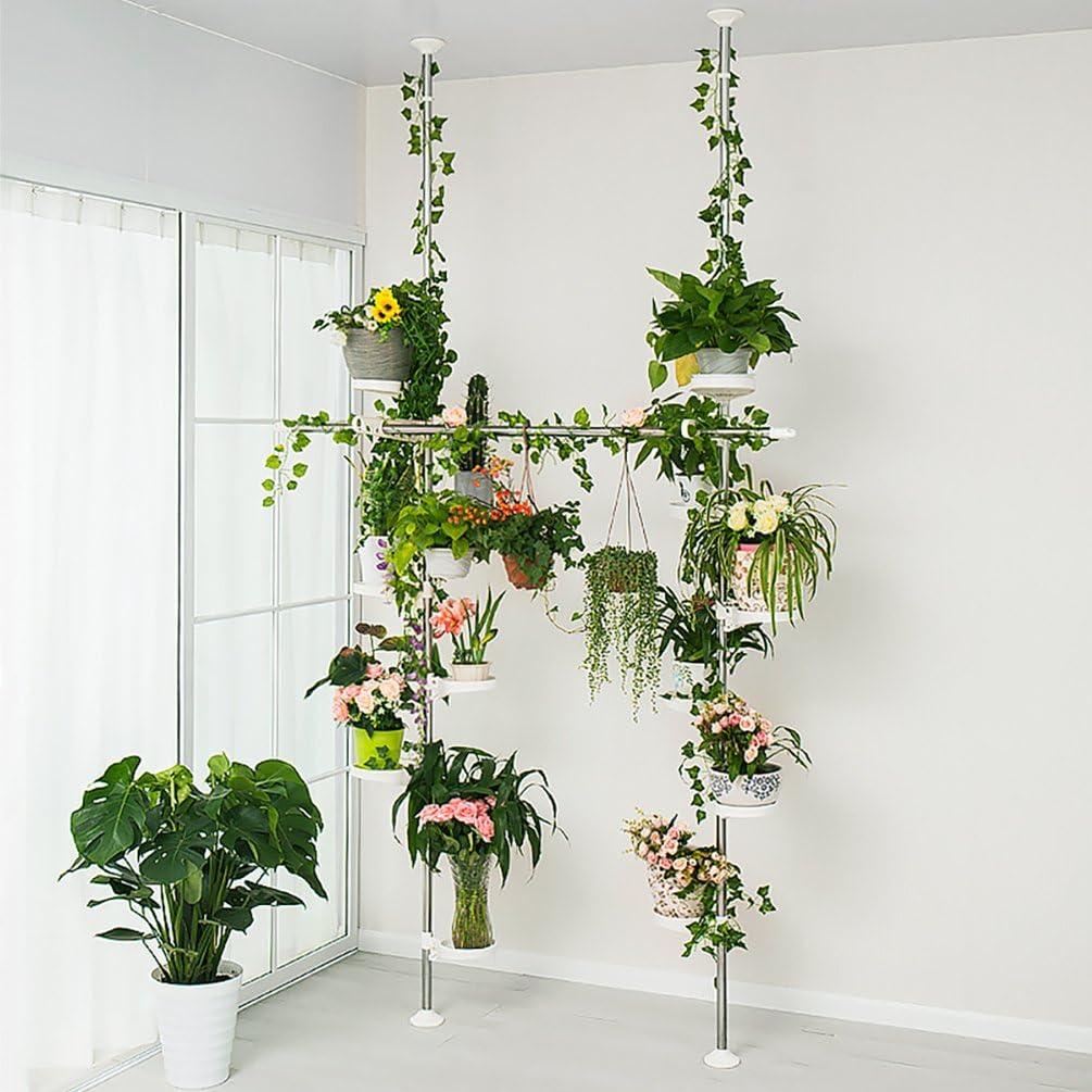 2/ganci e 1/asta telescopica per asciugatura Hanger Baoyouni indoor Plant Stands Spring doppia tensione Pole metal Flower display rack salvaspazio Corner floreale pot mensola con 12/vassoi avorio