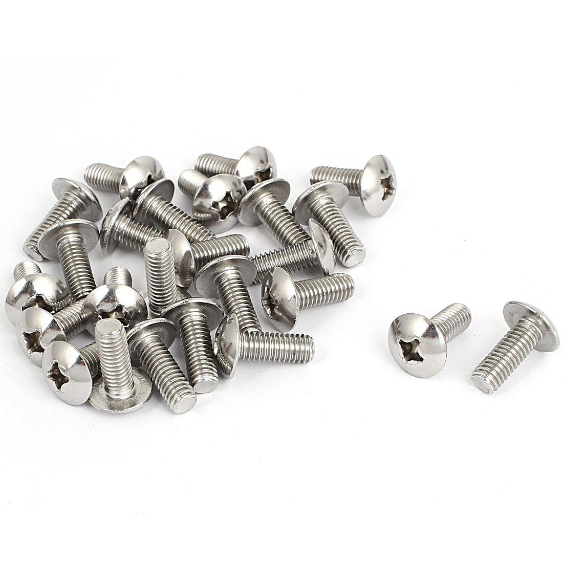 M6x16mm Stainless Steel Truss Phillips Head Machine Screws 25pcs