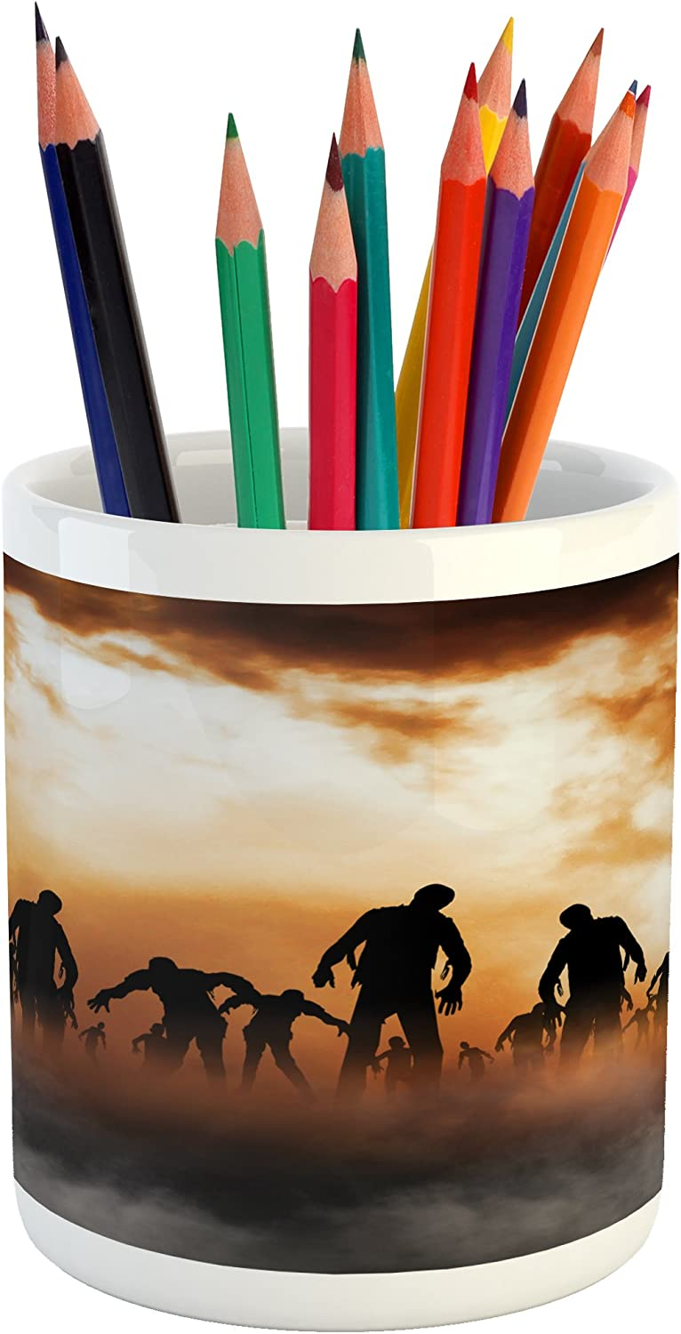 Ambesonne Halloween Pencil Pen Holder, Zombies Dead Men Walking Body in The Doom Mist at Night Sky Haunted Theme Print, Ceramic Pencil Pen Holder for Desk Office Accessory, 3.6
