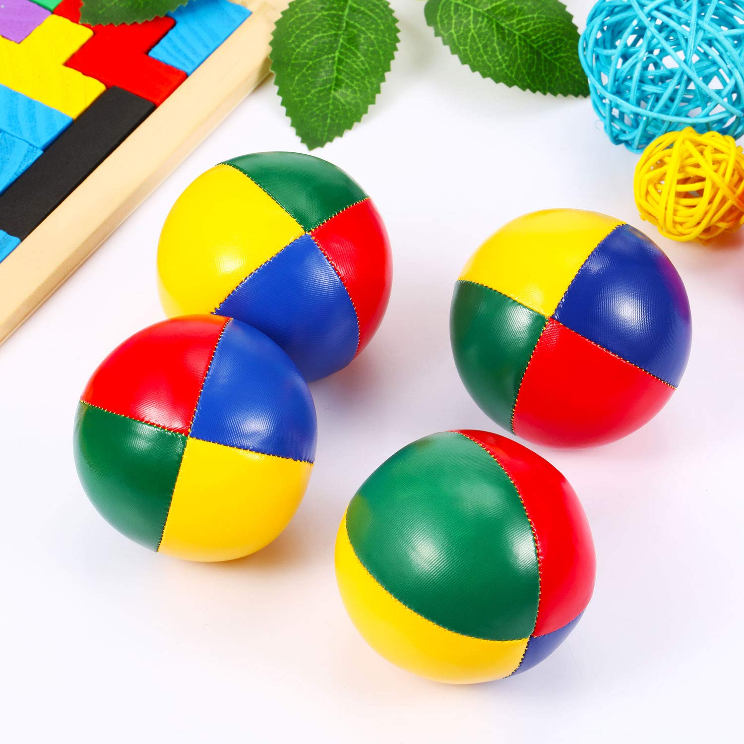 4 Pieces Juggling Balls for Beginners Soft Easy Juggle Balls Multicolor Durable Juggle Balls for Boys Girls Adults Mini Juggling Balls Kit