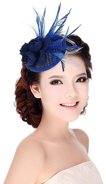 GEMVIE Tocado de Flor con Plumas Tocado Pelo Clip para Mujer Azul
