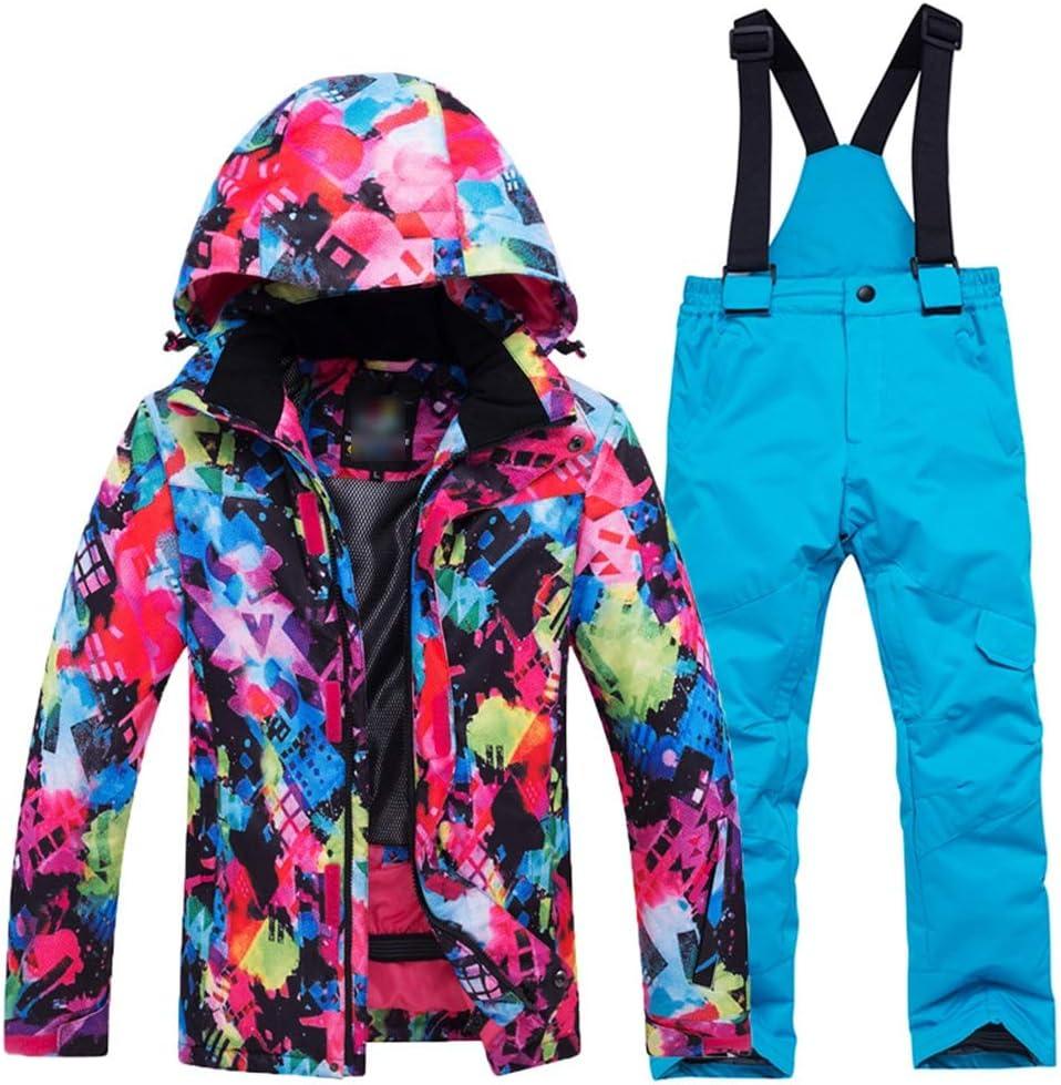 キッズスキージャケット 雪のスーツ冬暖かいズボンスキースーツセット子供/女の子厚手の防水ジャケット スノープルーフジャケット (色 : Colorful+青 pants, サイズ : L) Colorful+青 pants Large