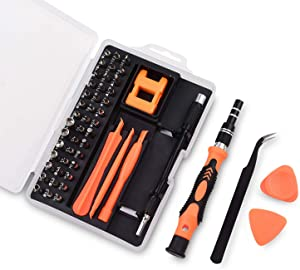 Precision Screwdriver Set, 52-1 Repair Kit with Magnetizer/Demagnetize, Top Super Hard Steel, with Case/Tweezer/Flexible Extension/Pry Tools, for Mobile Laptop Camera Electronics, by Lambery