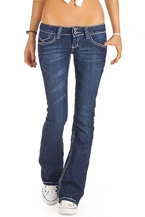 750f0155be2b bestyledberlin Damen Jeans, Bootcut Hüftjeans, Schlaghosen j73e – 36 S