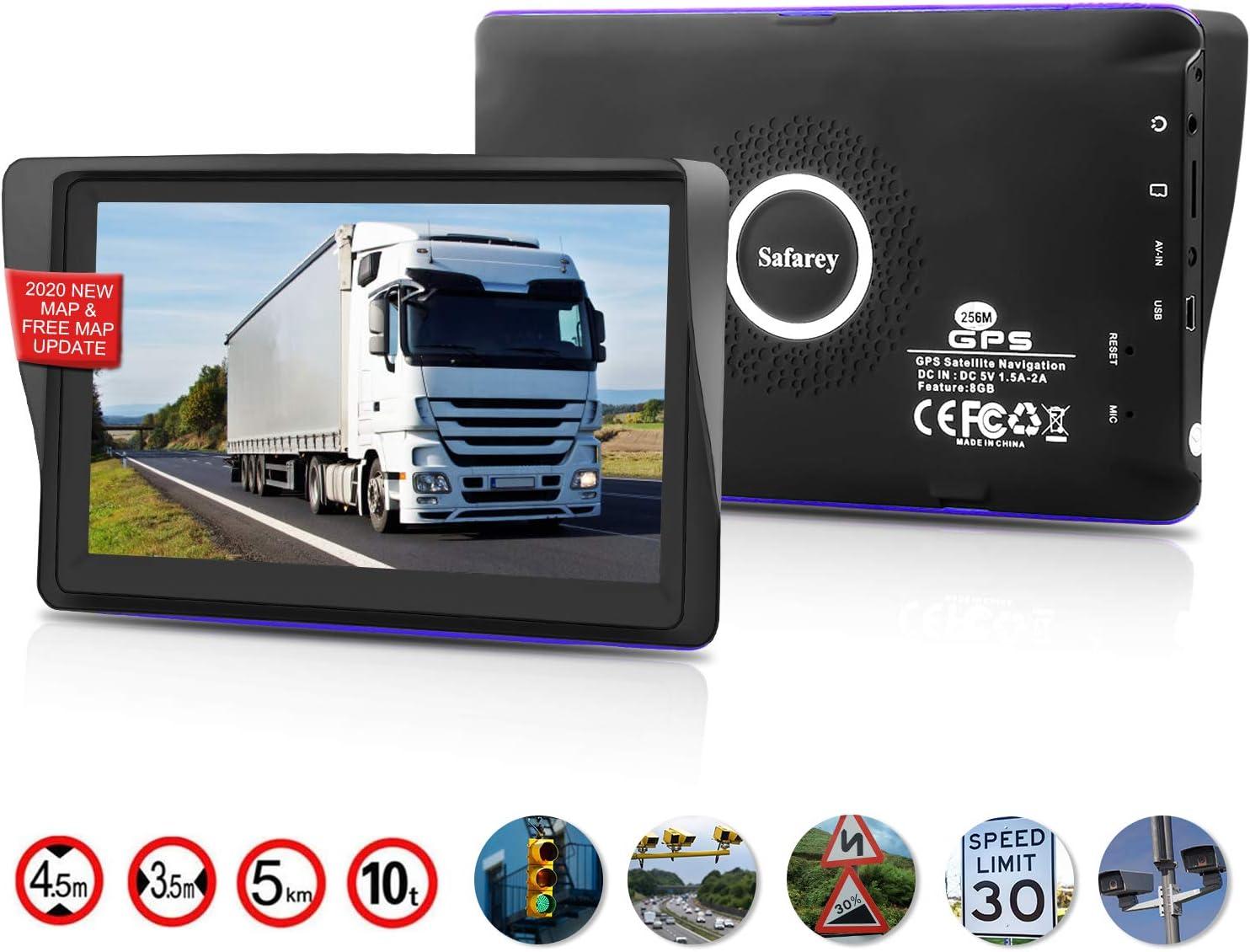 GPS coches, 7 Pulgadas Navegadores GPS para Coche, Navegador gps para coche, pantalla táctil capacitiva de alto brillo, Actualización del mapa de por vida,Dirección de giro recordando voz real hablada