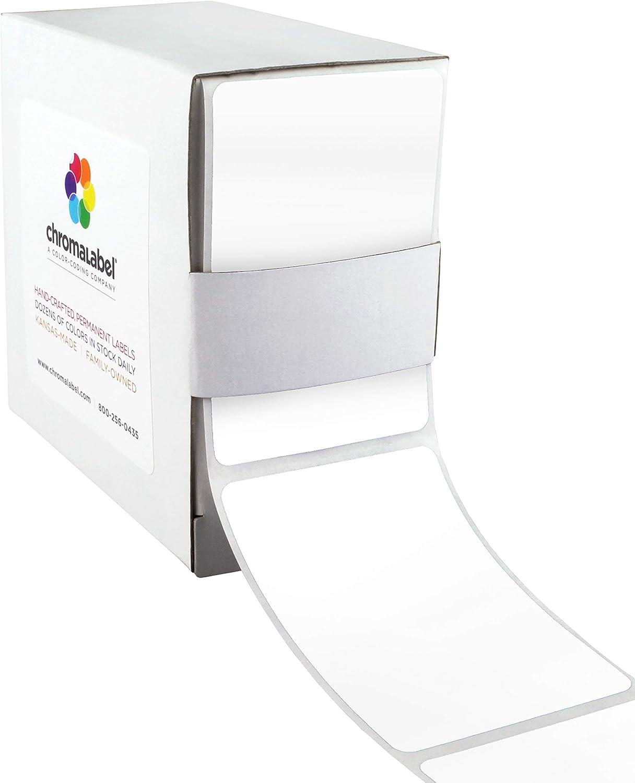 ChromaLabel 2 x 3 inch Permanent Color-Code Rectangle Labels, 250/Dispenser Box, White