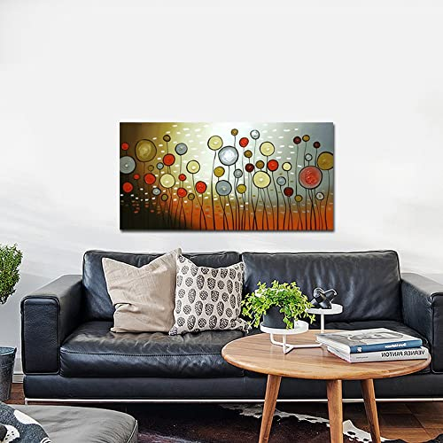 Wieco Art Extra Large Modern 100 Hand Painted Stretched and Framed Abstract Flowers Artwork Floral Oil Paintings on Canvas Wall Art Ready to Hang for Living Room Bedroom Home Decorations