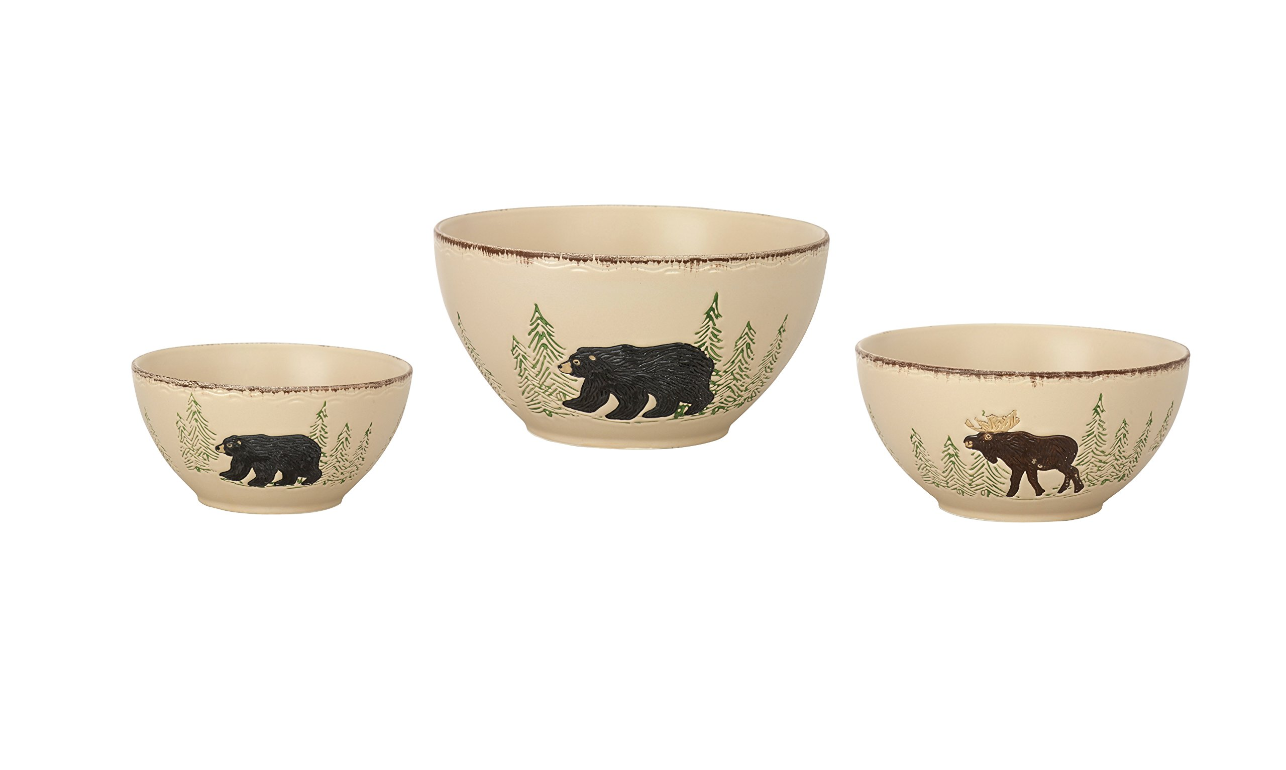 Park Designs Rustic Retreat Mixing Bowls (Set of 3), Multicolor