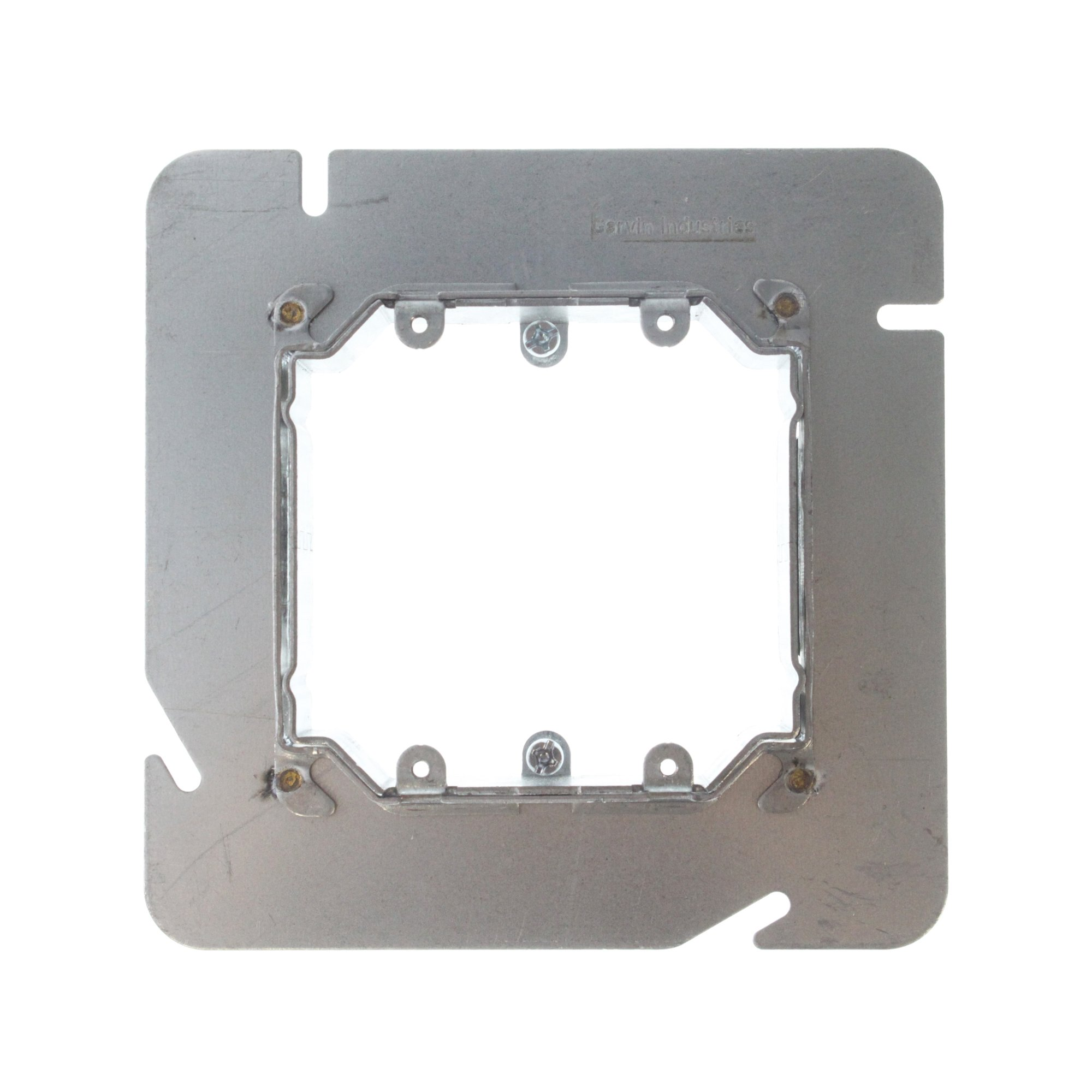 Garvin 62-ADJ 6'' Square Two-Gang Adjustable Depth 3/4'' to 1-1/2'' Device Ring