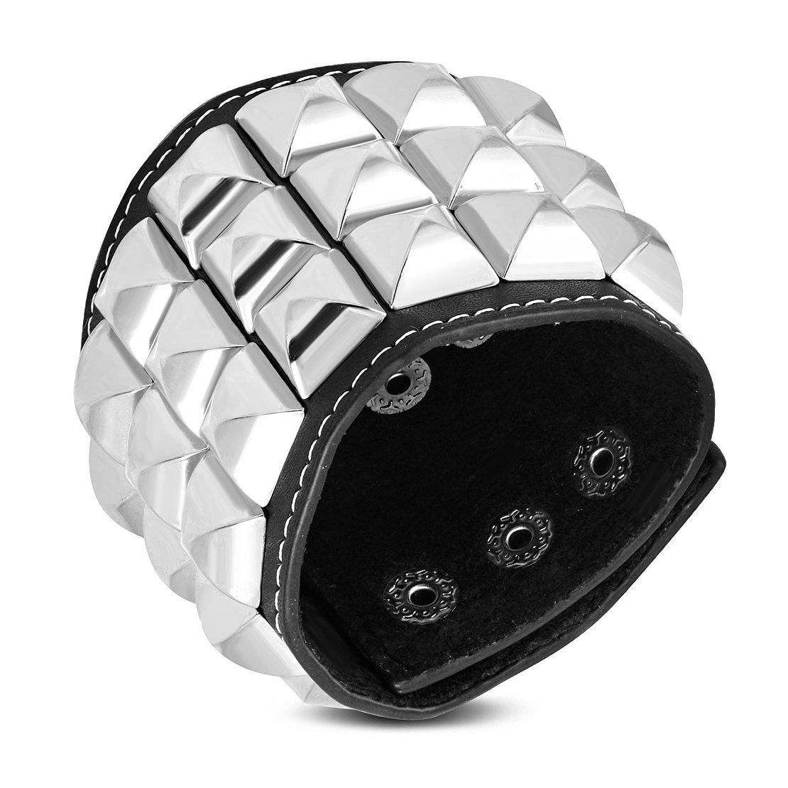 Véritable Cuir Noir Pyramide carré à tige Snap Bracelet W-60mm NRG Leather Bracelets 205-XDU447