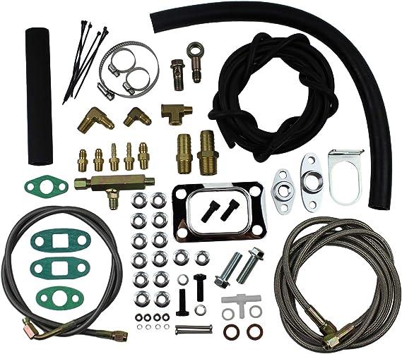Universal Anschluss Set Turbolader Öl Leitung Zulauf Rücklauf Einbau Kit Turbo Auto
