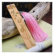 Melyaxu,Natural wood - Engraved Wood Bookmark with Tassel - Girl